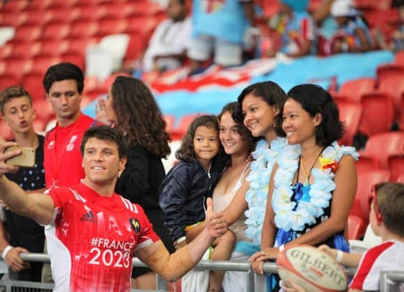 player interactions at singapore 7s